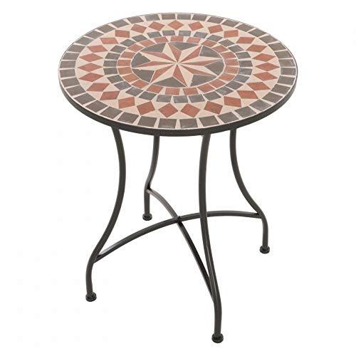 MACOShopde by MACO Möbel Raburg Mosaiktisch Mayla in BEIGE/TERRAKOTTA/BLAU - Gartentisch mit einzigartigem Muster, handgefertigtes Unikat - Rund ø 60 cm, Höhe 70 cm