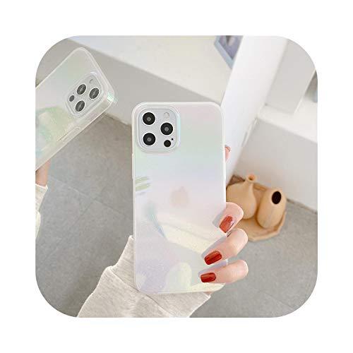 Carcasa de lujo para iPhone 11 12 Pro Max con purpurina láser para iPhone XR 7 8 Plus SE 2020 X XS-Conch blanco para iPhone XS Max