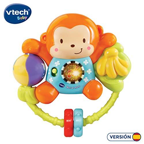 VTech-80-508322 Moni el Mono, sonajero Interactivo bebé con más de 35 melodías Canciones y Voces, Multicolor (3480-508322)