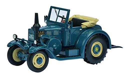 Schuco 450896100 - Traktor Lanz Eilbulldog mit GEöffnetem Softtop, Masstab 1:32, Auto Und Verkehrsmodell, blau