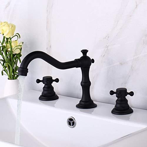 BDWS Grifo de lavabo de cocina y baño con acabado de bronce antiguo, grifo de lavabo con asas dobles, 3 piezas, lavabo de bañonegro