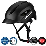 Shinmax Commuter Bike Helmet, Bicycle Helmet CPSC&CE Certified with LED Rare Light&Portable Backpack Adjustable Size (20.47-22.44 Inches) for Adult Men/Women Urban Commuter/Cycling/Mountain/Road