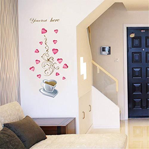 Plantenstickers, wandtattoo, 3D, zelfklevend, decoratie voor huis, romantisch, schilderen, slaapkamer, kast, veranda, ramen, achtergrond, muurstickers, liefde, mok, C