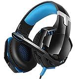 FFZQ Auriculares Esports, Universal, 3.5 mm, en la Cabeza, Auriculares con cancelación de Ruido, Flexibles, para Xbox 360, PS3, PS4, Laptop, TV,Azul