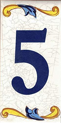 TORO DEL ORO Números casa. Numeros y Letras en azulejo. Calca cerámica. Estilo craquelé. Nombres y direcciones. Diseño Craquelé Grande 7,5x15 cms (Número cinco