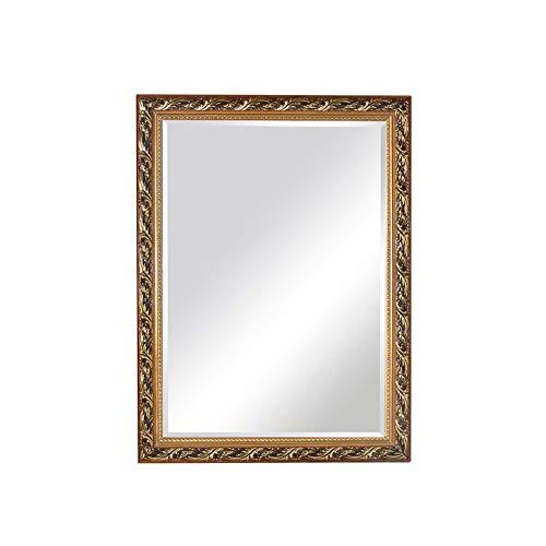 Wandspiegel Europese stijl massief houten spiegel deco badkamerspiegel zilver wastafel spiegel 75 * 100cm Goud