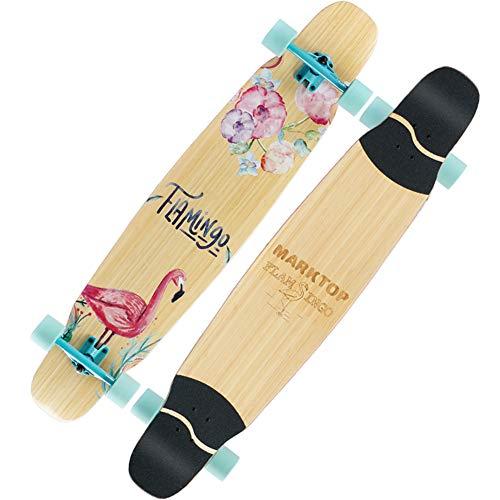 Nengge Professioneel longboard van esdoorn, klassiek longboard, Double Kick Trick Skateboard voor beginners, kinderen, jongeren en volwassenen, draagvermogen 200 kg
