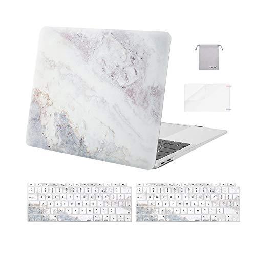 MOSISO Funda Dura Compatible con MacBook Air 13 2020 2019 2018 A2337 M1 A2179 A1932,Plástico Carcasa Rígida& Cubierta para Teclado&Protector de Pantalla &Bolsa de Accesorios,Mármol Gris Beige