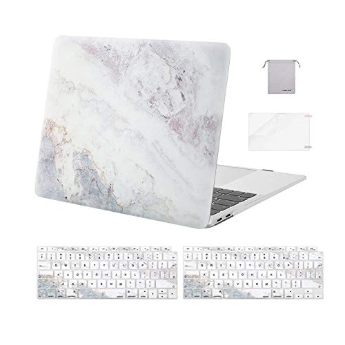 MOSISO MacBook Air 13 inch Case 2020 2019 2018 A2337 M1 A2179 A1932 Retina, Plastic Pattern Hard Shell&Keyboard Cover&Screen Protector&Storage Bag Only Compatible with MacBook Air 13,Beige Grey Marble