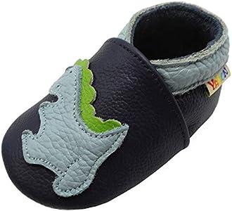Yalion Zapatos de Bebé Zapatos de Cuero Suave para bebés Pantuflas Infantiles Patucos 0-3 Años Dinosaurio (Azul, XL, 23/24 EU)