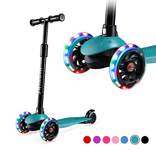 Hishine Kick Scooter for Kids with 3 Light up Wheels and Adjustable Height for 2-7 Years Old Ages Girls Boys Toddlers & Children,Lean to Steer, 3 Wheel Scooters (Green)