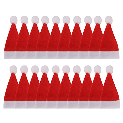 20PCS Christmas Party Table Decoration Knife Spoon Fork Stocking Holders Set TableWare Cup Bottles Cover Xmas Flatware Bag Santa Hats Snowflake Boots Dinner Decor with Sling