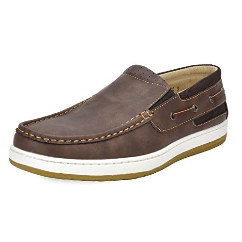 Bruno Marc Men's Pitts_16 Dark Brown/Dark Brown Loafers Moccasins Boat Shoes Size 06.5