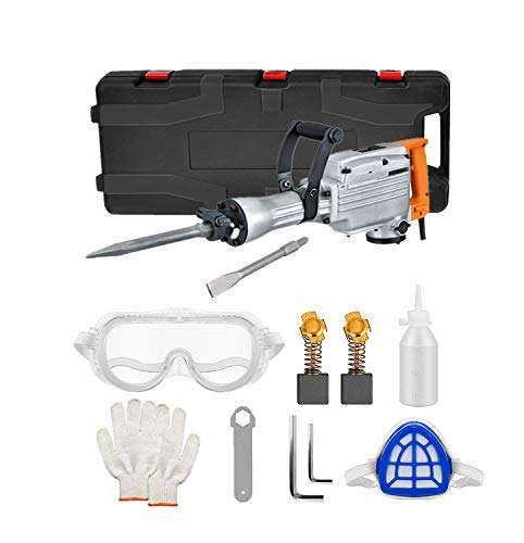 CCTI 2200 Watt Electric Demolition Jack Hammer 1400 BPM Concrete Breaker, includes Point and Flat Chisels (Model: CDH65A)