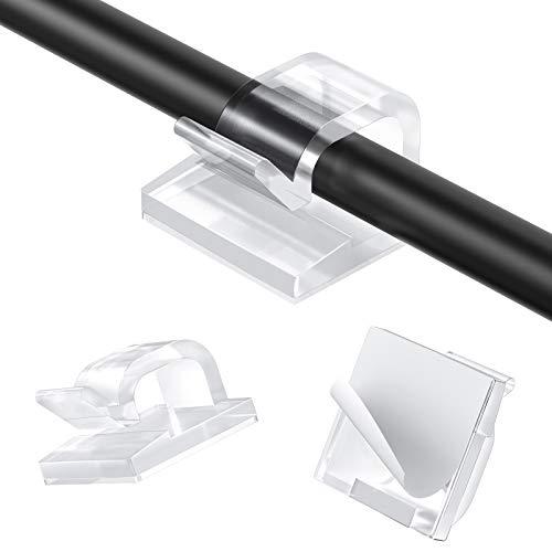 AGPTEK 110 Stück Kabelclips, Kabelhalter mit Starken Selbstklebend Pads, Kabelklemme Set für Schreibtisch, Kabelmanagement für Netzkabel, Büro USB Ladekabel, TVKabel und...