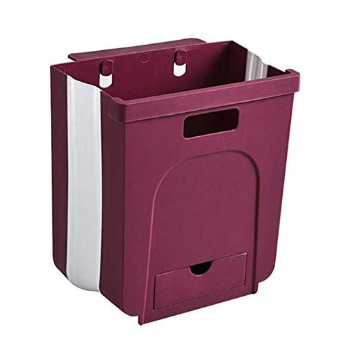 Cubo de basura para colgar en la pared con un pequeño cajón para puerta de gabinete de cocina Cubo de basura plegable Cubo de basura usado en cocinas Cubos de basura-Vino tinto, Federación de Rusia