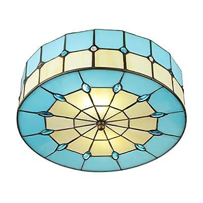 KWOKING Lighting Vintage Hand-Made Tiffany Ceiling Light ¡