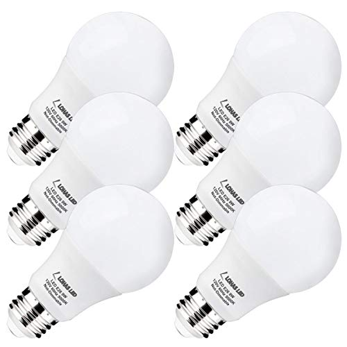 LOHAS A19 LED Bulb Daylight Light, 60Watt Bulbs Equivalent(9W LED), 5000K White Light Bulb E26 Base, 810 Lumen, 240 Degree Beam Angle Not Dimmable Home Lighting with UL Listed(6Pack)