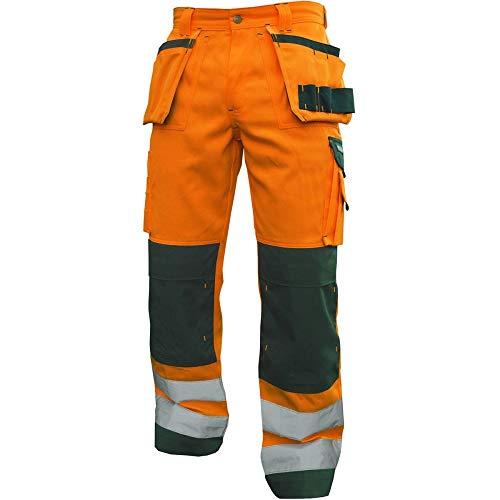Dassy 200899-6631-48 Glasgow High Visibility Werkbroek met Multi-Pockets en Kniezak, 290G/M2, Fluo Oranje/Fles Groen, Maat 48