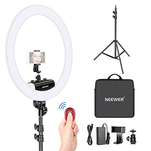 Neewer Ring Light Kit [Upgraded Version-1.8cm Ultra Slim] - 18 inches, 3200-5600K, Dimmable LED Ring Light with Light Stand, Rotatable Phone Holder, Hot Shoe Adapter for Portrait Makeup Video Shooting