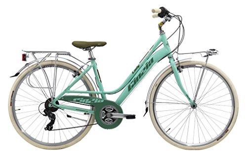 Cicli Cinzia Bicicletta 28' Citybike Nuvola Donna 21/V Revo Shift V-Brake Alluminio, Verde Pastello Opa