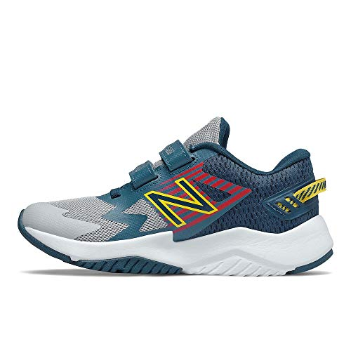New Balance Rave Run V1 Hook and Loop Shoe, Light Aluminum/Rogue Wave, 11 US Unisex Little Kid