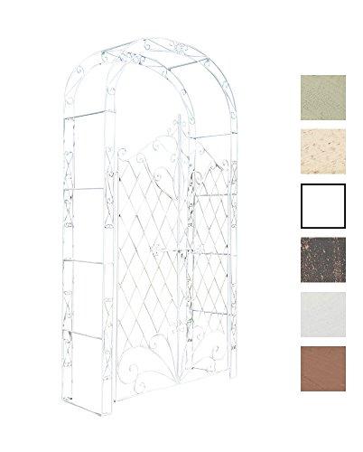 CLP Arco De Jardín con Puerta Melissa I Enrejado con 2 Puerta para Plantas Trepadoras I Entrada Jardín En Forma De Arco para Flores I Color: Blanco Envejecido