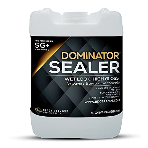 5 Gallon DOMINATOR SG+ High Gloss Paver Sealer and Decorative Concrete Sealer (Color-Enhancing, Wet Look) – Solvent Free, Twice The Coverage Rate (up to 400 sq ft)