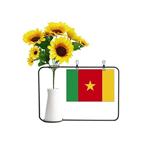 Beauty Gift Künstliche Sonnenblumenvasen mit Kamerun-Flagge, Afrika