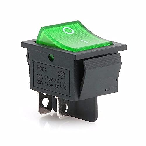 GzxLaY 2 Piezas lámpara Verde 4 Pines ON/Off 2 Posiciones DPST Interruptor basculante 16A / 250V KCD4-201 Nuevo