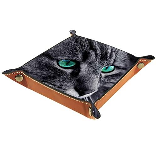 Bandeja de Cuero Cara del gato Almacenamiento Bandeja Organizador Bandeja de Almacenamiento Multifunción de Piel para Relojes,Llaves,Teléfono,Monedas