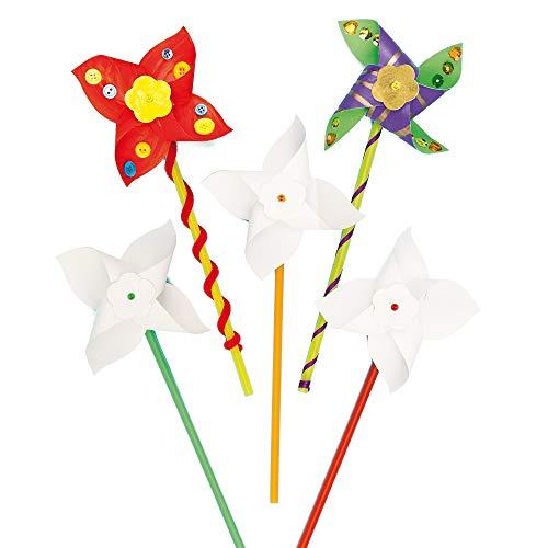 Baker Ross Stwórz własne zestawy do wiatraków, zestaw dla dzieci do dekoracji i personalizacji, idealny do pracy w szkole, majsterkowania w domu, działań w grupie rzemieślniczej i więcej (8 sztuk)