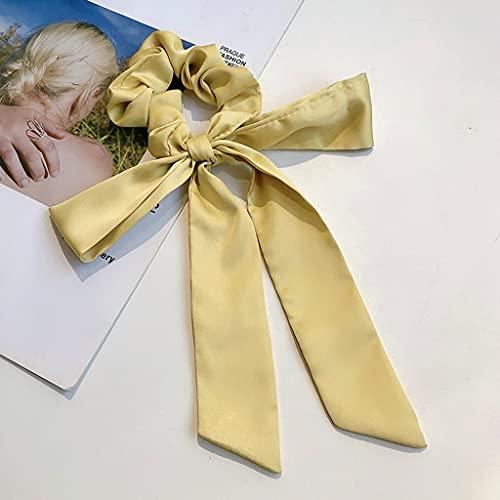 XZJJZ Vintage Mujeres Satin Scrunchie Bricolaje Arco Streamers Pelo scrunchies Cinta Corbatas Cola de Caballo Cola de la Cabeza Envolver Cabello Accesorios para el Cabello (Color : F)