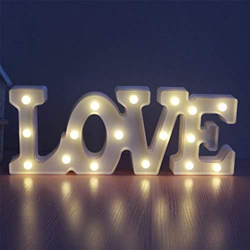 JZTRADING Letras Luminosas Decorativas Luz de Noche de LED Letra de Love Blanco Luz de Carpa de LED Señal de Boda Interior de Mesa Decoración