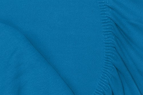 Double Jersey – Spannbettlaken 100% Baumwolle Jersey-Stretch bettlaken, Ultra Weich und Bügelfrei mit bis zu 30cm Stehghöhe, 160x200x30 Petrol - 7