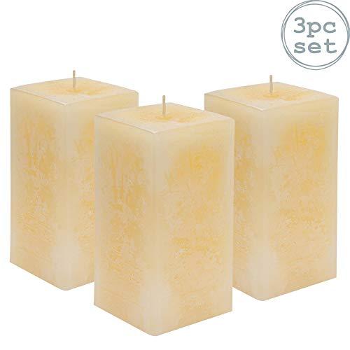 Nicola Spring Bougie carrée parfumée à la Vanille avec mèche Unique. Durée d'éclairage de 90 Heures x3