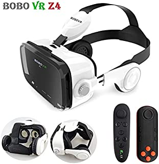 BOBOVR Z6 Upgrade 3D Glasses VR Headset Google Cardboard Bluetooth Virtual Reality Glasses Wireless VR Helmet for Smartphones (Z4 Leather Style)