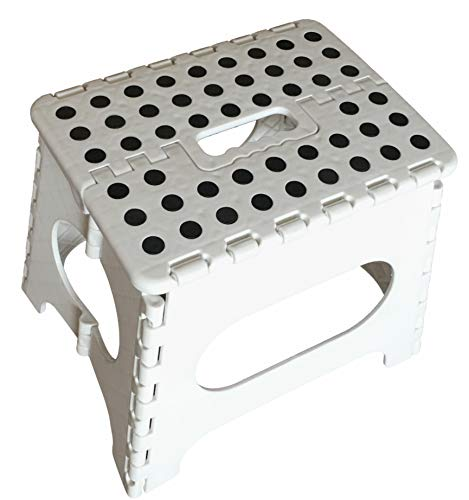 ABO Gear 11' Folding Step Stool for Adults and Kids, Kitchen Stools, Garden Stool, White