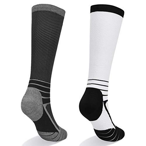 atletica corsa volo viaggi Abida 2 paia di calzini a compressione per donne e uomini 15-22 mmHg altezza al ginocchio per sport atletici