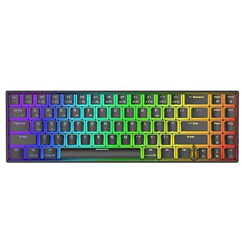 Allamp Mechanische Tastatur mechanische Gaming-Tastatur 71 Tasten Dual-Mode-Bluetooth 3.0 + USB Wired...