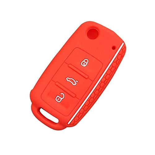Ztuaalui Funda de Silicona para Llave de Coche, para Volkswagen Passat Polo Golf Touran Bora Seat Ibiza Leon Skoda Octavia Fabia 3 Botones protegidos