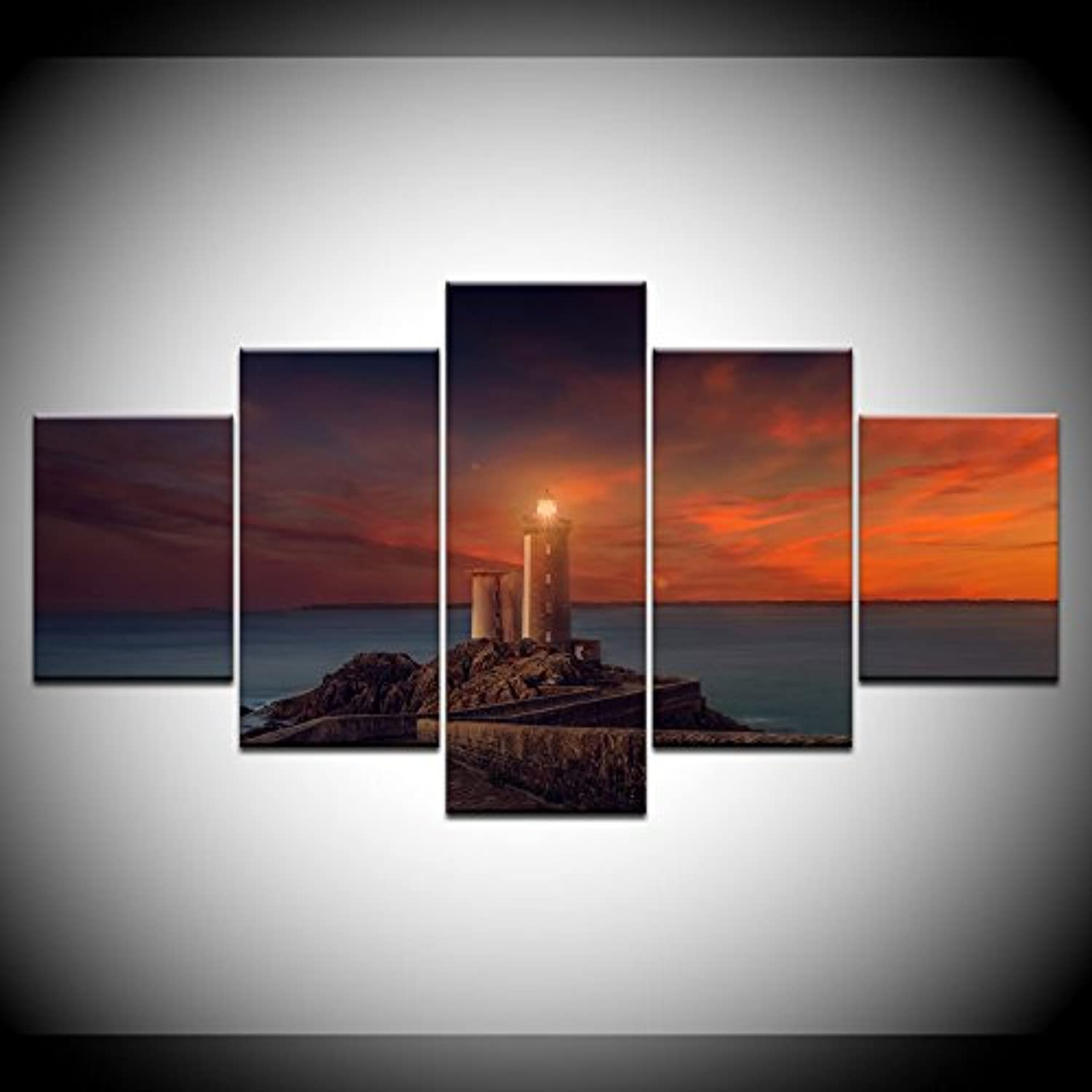 Living Room HD Printed Wall Art Picture Painting 5 Pcs Sea Lighthouse Rosy Clouds View Modern Home Decor Poster Frame