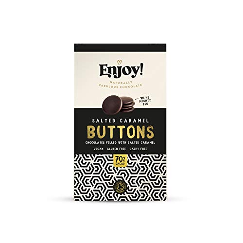 Vegan Chocolate by ENJOY | Award Winning Taste | 100% Organic Dark Chocolate | Dairy & Gluten Free | Salted Caramel Filled Buttons X 2 Packs