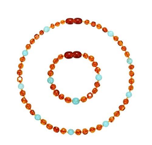 MA Collar De Ámbar Báltico Natural Pulsera/Tobillera Conjunto De Joyas De Ámbar Pulido Hecho A Mano para Niños
