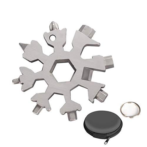 Aitsite 18-in-1 Multi-Tool Snowflake Multi attrezzo Multi attrezzo in acciaio portatile per viaggi in campeggio (Argento)