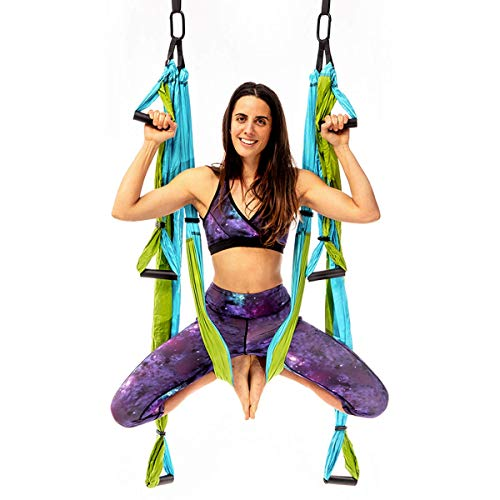 YOGABODY Yoga Trapeze Pro – Yoga Inversion Swing with Free Video Series and Pose Chart Aqua