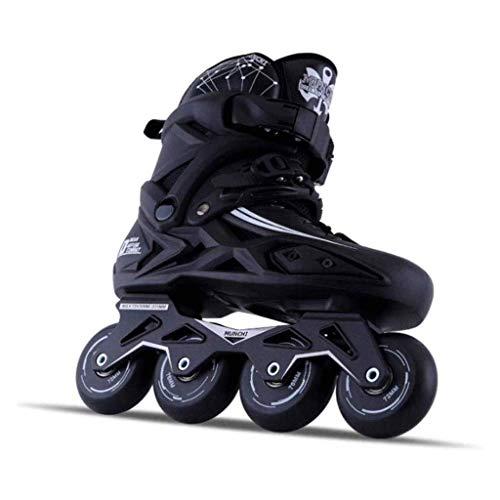 Taoke Unisex Kinder Inline Skates Indoor Outdoor veränderbare Länge Roller Skates Kinder mit Blitz-Rad for Junge Mädchen (Farbe: Schwarz, Größe: 43) dongdong (Color : Black, Size : 43)