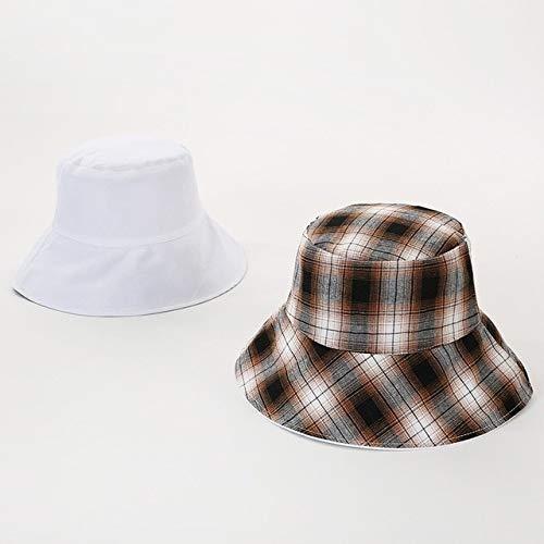 Sombrero de Cubo Negro de Dos Lados para Mujeres y Hombres, Sombrero de Sol Reversible, Sombreros de Pescador de protección Solar para la Playa de Verano para Mujer-White B