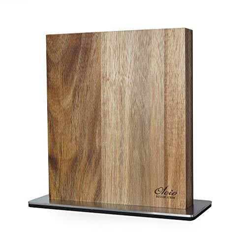 Oleio hochwertiger magnetischer beidseitiger Messerblock für bis zu 8 Messern I Zeitloses Design aus massivem (Holzstärke 3,5cm) Akazienholz mit starken Magneten und Edelstahlsockel ohne Messer