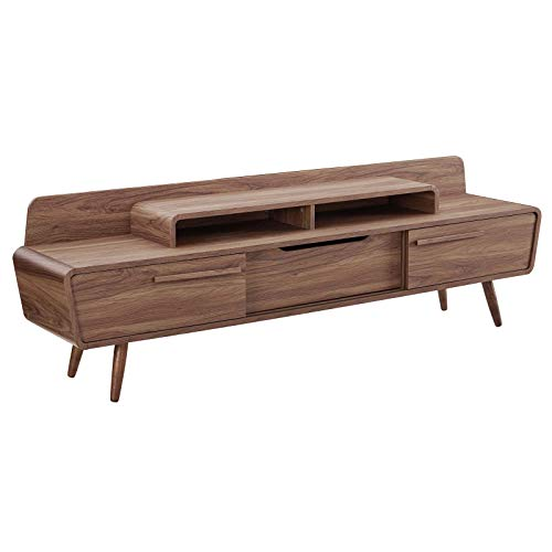 "Modway Omnistand 74"" Mid-Century Modern Low Profile Media Console Entertainment TV Stand in Walnut"